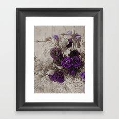 Vintage purple sepia floral Framed Art Print