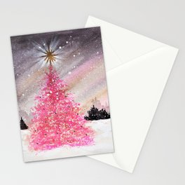 Magical Pink Christmas Tree in Snowy Woods Watercolor Stationery Cards