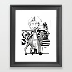 the girl, her dog and a bird Framed Art Print