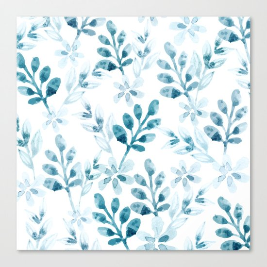 Watercolor Floral Pattern (Winter Version) Canvas Print
