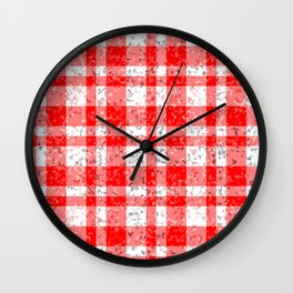 Red White Patchy Marble Tartan Pattern Wall Clock