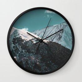 Snowy Mountains Under Teal Sky - Alaska Wall Clock