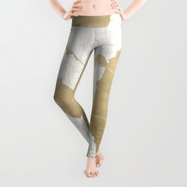 Seattle White and Gold Map Leggings