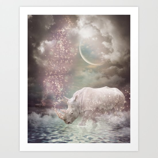 The Most Beautiful Have Known Defeat, Suffering, Struggle... (Rhino Dreams)  Art Print