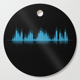 Cool Blue Graphic Equalizer Music on black Cutting Board