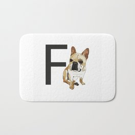 F is for French Bulldog Bath Mat