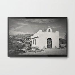 Lajitas Chapel Black and White Metal Print