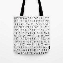 Futhark full runic print (Viking runes) white version Tote Bag