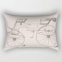 Design for 2 seat Phaeton no.3035a 1874 Brewster Co // Retro Drawing Vehicle Transportation Rectangular Pillow