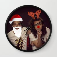 larry stylinson Wall Clocks featuring Noel and Rudolph - Larry Stylinson Christmas by girllarriealmighty