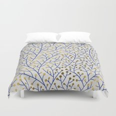 Berry Branches - Navy & Gold Duvet Cover