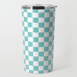Aqua Checkerboard Pattern Travel Mug