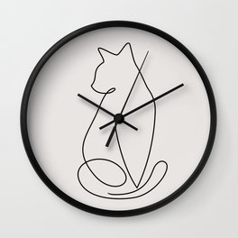 One Line Kitty Wall Clock