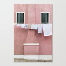 The Pink House with the Hanging Wash Canvas Print