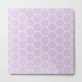 Geometric Honeycomb Pattern - Light Purple #288 Metal Print