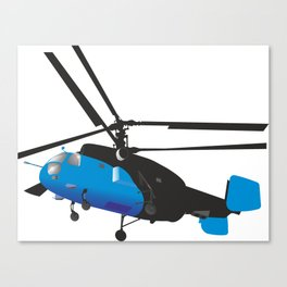 Black and Blue Helicopter Canvas Print