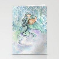 aquarius Stationery Cards featuring Aquarius by Aline Souza de Souza