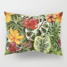 Tropical Vintage Exotic Jungle Flower Flowers - Floral watercolor pattern Pillow Sham