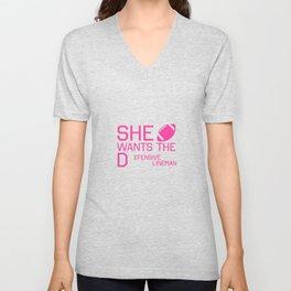 She Wants the Defensive Lineman Funny Football T-shirt Unisex V-Neck