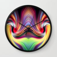 cocaine Wall Clocks featuring Contemplating Rainbows by Heidi Anne Morris
