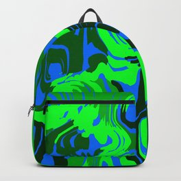 Cloudy flowing spots of calm colors with green. Backpack