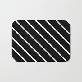 Diagonal Lines (White & Black Pattern) Bath Mat