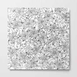 Modern black white hand drawn floral Metal Print