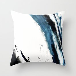 Reykjavik: a pretty and minimal mixed media piece in black, white, and blue Throw Pillow