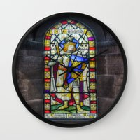 stained glass Wall Clocks featuring Stained Glass by Ian Mitchell