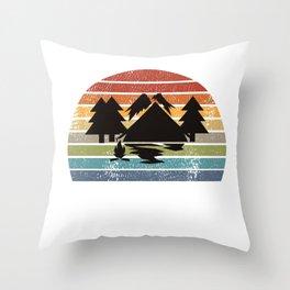 Camping Tents Retro Throw Pillow