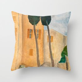 """Amedeo Modigliani """"Cypresses and Houses at Cagnes (Cyprès et maisons à Cagnes)"""" Throw Pillow"""