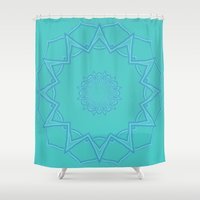 coasters Shower Curtains featuring Teal Star  by Lena Photo Art