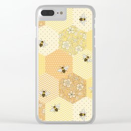 Patchwork Bees Pattern Clear iPhone Case