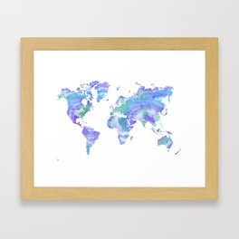 Watercolour world map bluegreenpurple canvas print by cloverchen watercolour world map bluegreenpurple framed art print gumiabroncs Images