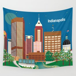 Indianapolis, Indiana - Skyline Illustration by Loose Petals Wall Tapestry