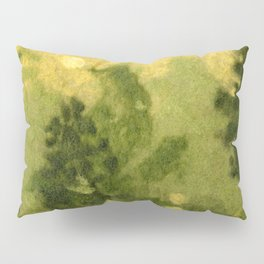 Summer Lawn, Fiber Felt Painting, Wool Texture, Yellow Green Pillow Sham