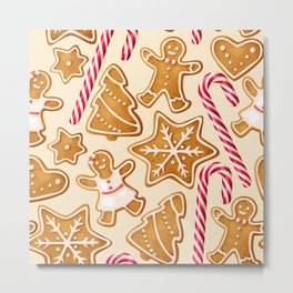 Gingerbread Cookies & Candy Canes Metal Print