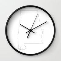 alabama Wall Clocks featuring Alabama by mrTidwell