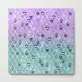 Mermaid Princess Glitter Scales #3 #shiny #pastel #decor #art #society6 Metal Print
