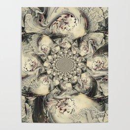 Abstract Kaleidoscope Cream Mauve Black Design Poster