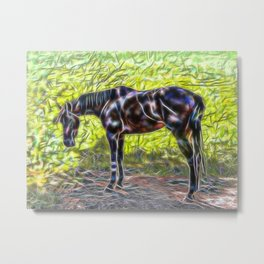 Abstract horse standing in paddock Metal Print