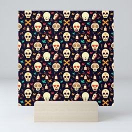 Day Of The Dead Pattern | Dia De Los Muertos Skull Mini Art Print