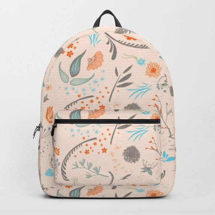 Floral Pattern with Flowers and Leaves Backpack