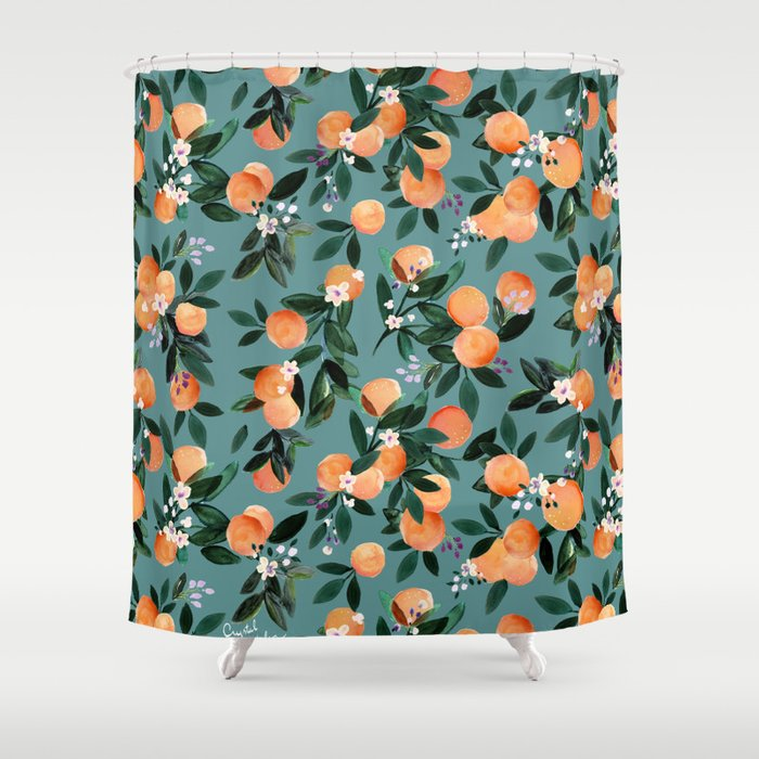 Dear Clementine - oranges teal by Crystal Walen Shower Curtain
