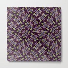 Field of Lilac Butterflies , Purple Wings Patterns in Geometric Formation with Flowers Metal Print