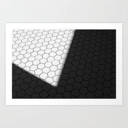 BLACK & WHITE HONEYCOMB Art Print