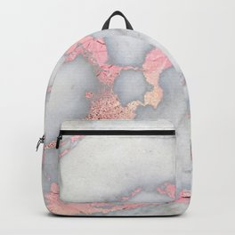Rosegold Pink on Gray Marble Metallic Foil Style Backpack