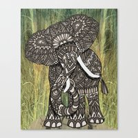 ornate elephant Canvas Prints featuring Ornate Elephant by ArtLovePassion
