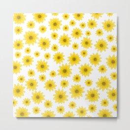 Sunflower Floral Pattern Metal Print