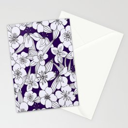 Hand painted modern black white indigo floral pattern Stationery Cards